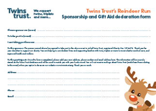 Reindeer run sponsorship form